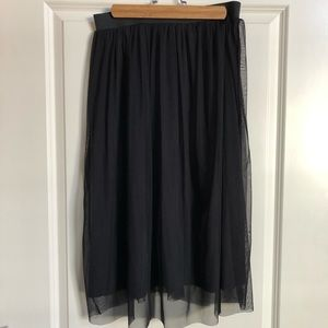 H&M Women's Black Tulle Knee Length Skirt (12)